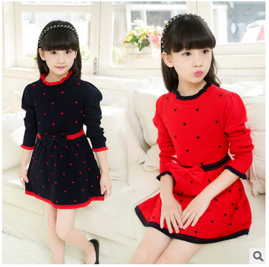 Long Sleeve Thick Warm Girl Dress Party Dresses Knitted Chiffon Winter Kids Girls Clothes Children clothing Girl Dress 3-12 yrs vidmid girl dress christmas wedding party dresses knitted chiffon winter kids girls long sleeve children clothes girl dress 4001