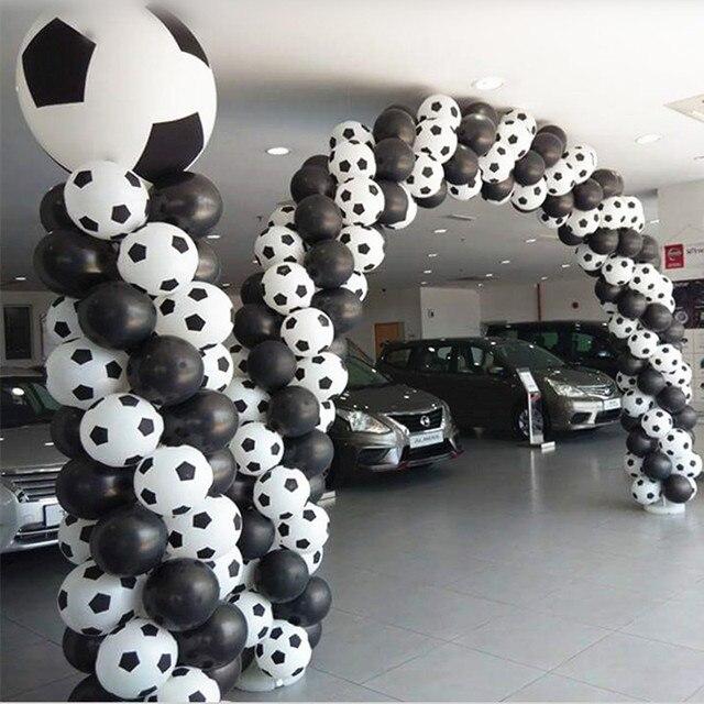 Globos de fútbol de alta calidad, 100 unids/lote, color blanco, decoración para fiesta, celebración