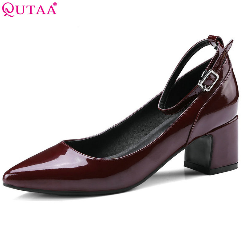 QUTAA 2018 Women Pumps Genuine Patent Leather Square Med Heel Shoes Pointed Toe Buckle Black Ladies Casual Shoes Size 34-39 цена