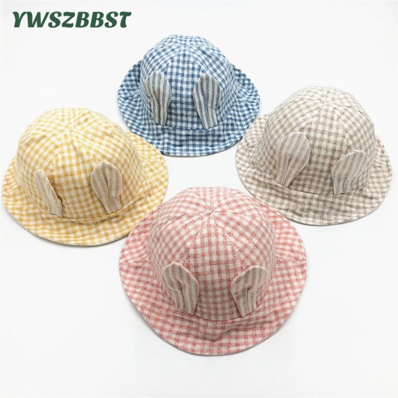 Rabbit Ears Summer Baby Hat Cotton Floral Bucket Kids Sun Hat Girl Cap Toddler