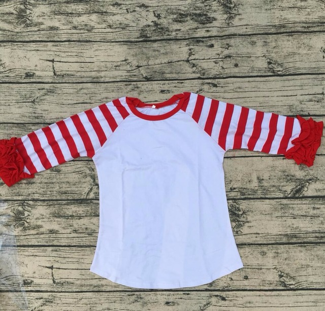 d2b6d97bb beautiful red stripe long sleeve baby girl children Casual clothing  wholesale baby double ruffle simple icing