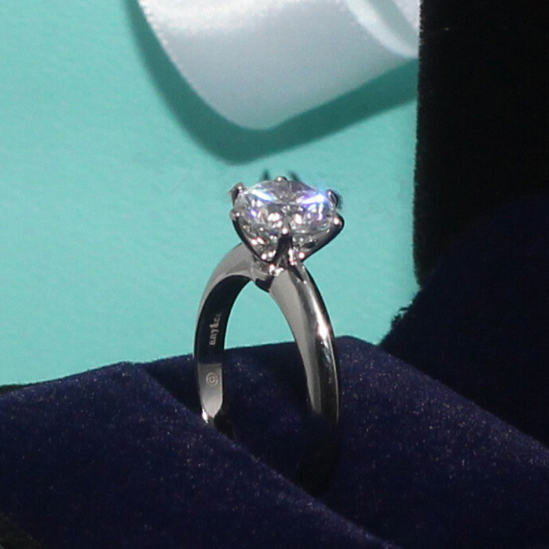 Luxury Classic Carat Synthetic Diamond Wedding Engagement Rings Women Platinum Plate Pure Silver 925 Elegant Bijoux Top Quality