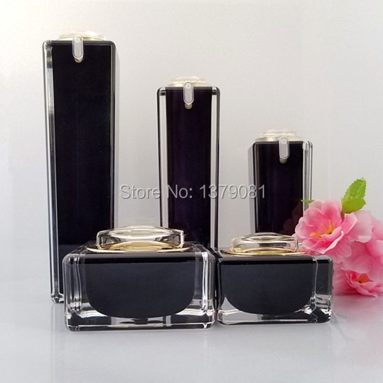 10ml,15ml,30ml 50ml,100ml Black Acrylic Cream Jar Gold Cap Empty Cosmetic Bottle Container Jar Square Lotion Pump Bottle цена