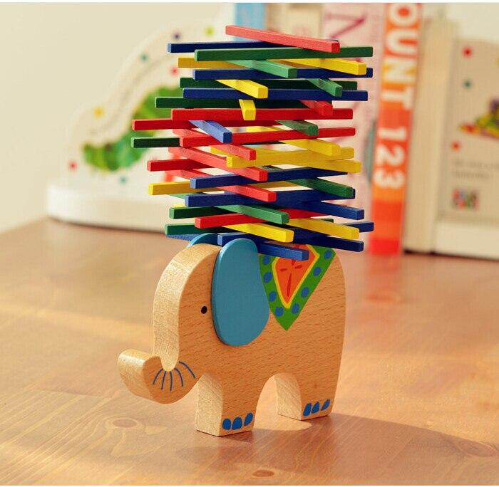 font b Baby b font Toys Educational Elephant Camel Balancing Blocks Wooden Toys Beech Wood