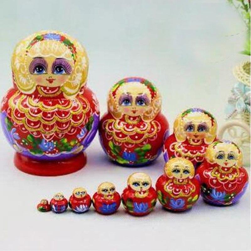 10 couches peintes à la main sculpture russe en bois nidification poupées Top Grade 10 pièces bricolage Basswood mode matriochka poupées bricolage jouets L30