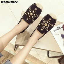 TINGHON Fashion Women Ladies Espadrille Shoes Canvas Rhinestone Pearl Hemps Fisherman Flats