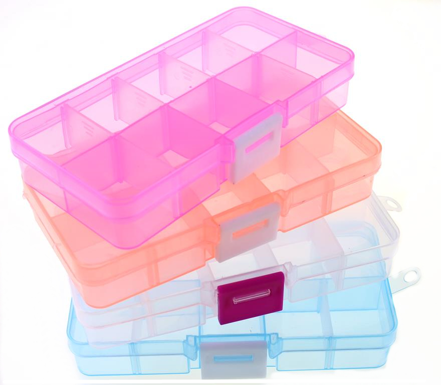New 10 Slots Cells Colorful Portable Jewelry Tool Storage Box Container Ring Electronic Parts Screw <font><b>Beads</b></font> <font><b>Organizer</b></font> Plastic Case image