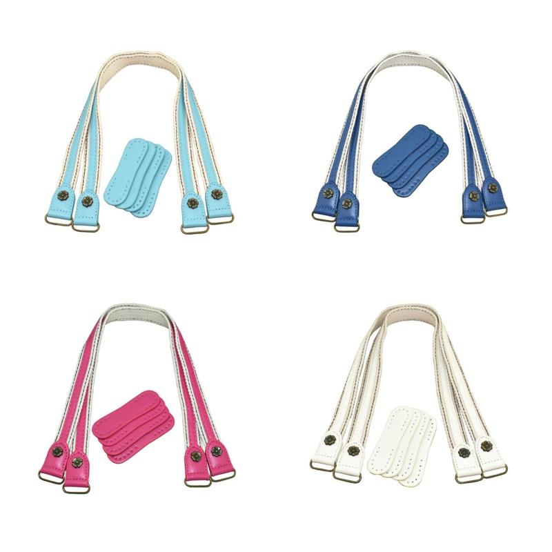 1Pair Leather Bag Handles Leather+ Fabric Shoulder Bag Strap DIY Handbag Belt Durable Handle For Women Girl Handbags Accessories