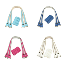 1Pair Leather Bag Handles Leather+ Fabric Shoulder Strap DIY Handbag Belt Durable Handle for Women Girl Handbags Accessories