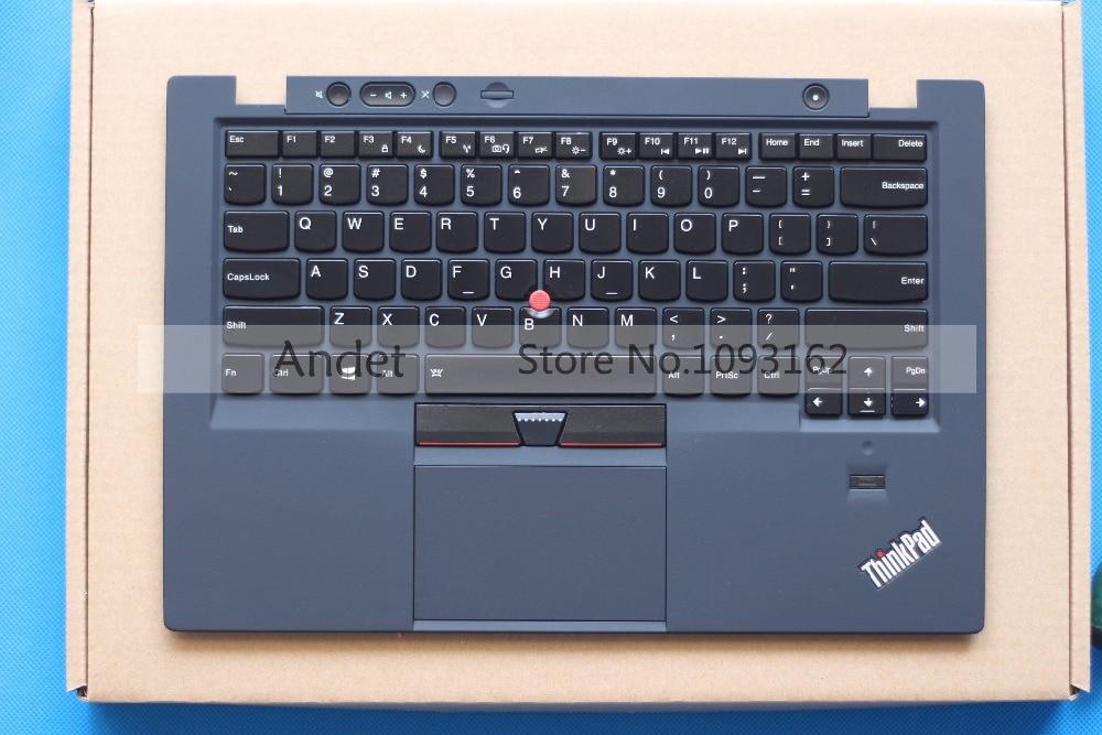 Refurbished Lenovo ThinkPad X1 Carbon Gen 1 Type-34xx US Backlit Keyboard + Palmresst Cover W/ Touchpad Fingerprint new ru keyboard for lenovo thinkpad carbon x1 gen 4 4th 2016 laptop keyboard backlit russian no frame black