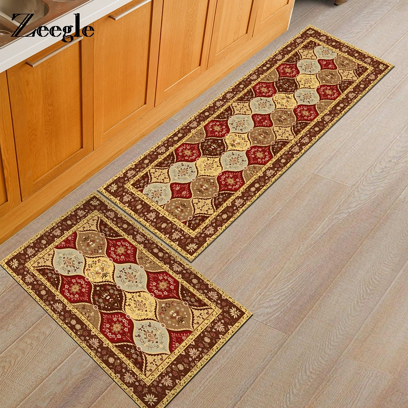Zeegle European Classical Printed Kitchen Rugs Home Floor Carpets For Living Room Anti-Slip Bedroom Bedside Mats Sofa Table Rug