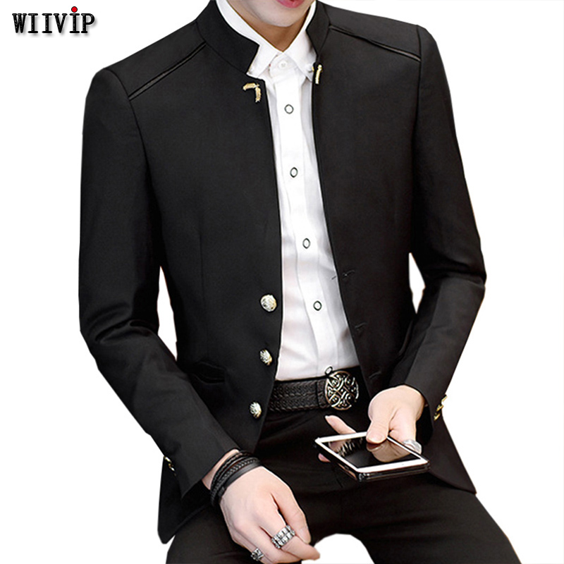 Blazer Men Stand-Collar Autumn Winter Formal-Work Full-Sleeve New-Fashion Man Casual