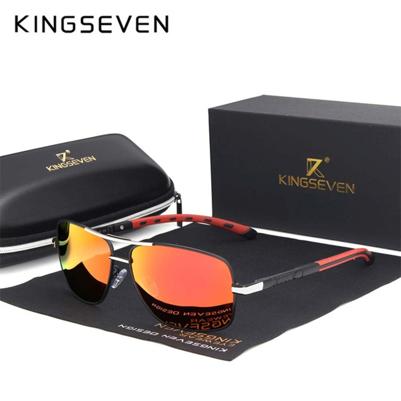 KINGSEVEN Brand Polarized Sunglasses Men New Fashion Sun Glasses Fishing Square Driving Eyewear Goggles Shades With Accessories
