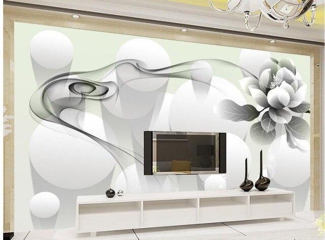 3d tapete für wohnzimmer Moderne einfache schwarz weiß rauch blume ...