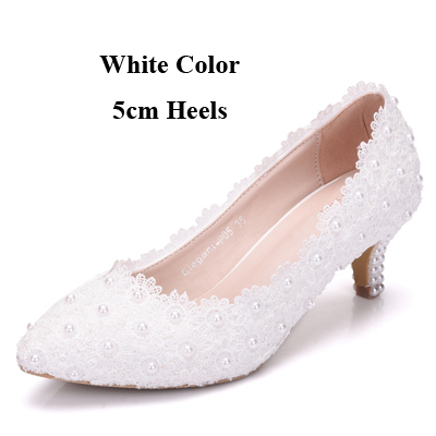 White Pink Lace Flower Party Prom Shoes