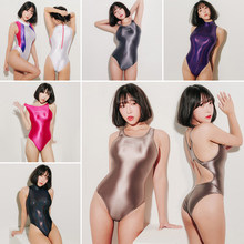 Sexy Satin Glossy Body Suit High Cut One Piece Swimwear Women Glitter Bodysuit Shiny Bathing Suits Female Swimsuit LEOHEX(China)