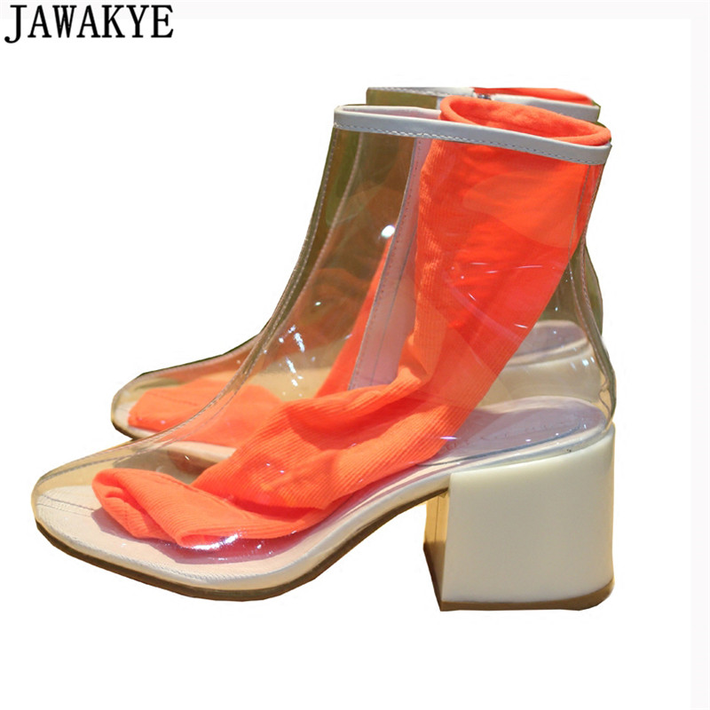 Jelly snoep kleur transparant clear PVC enkellaarsjes voor vrouwen 2018 sexy midden hakken regen schoenen met sok zomer sandalen vrouwelijke