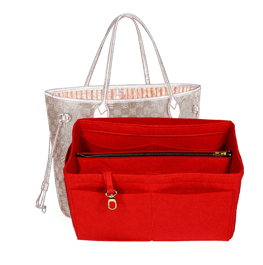 Customizable Felt Tote Organizer (w/Detachable Compartments) Neverfull MM GM PM Speedy 30 25 35 40 Purse Insert Diaper Bag