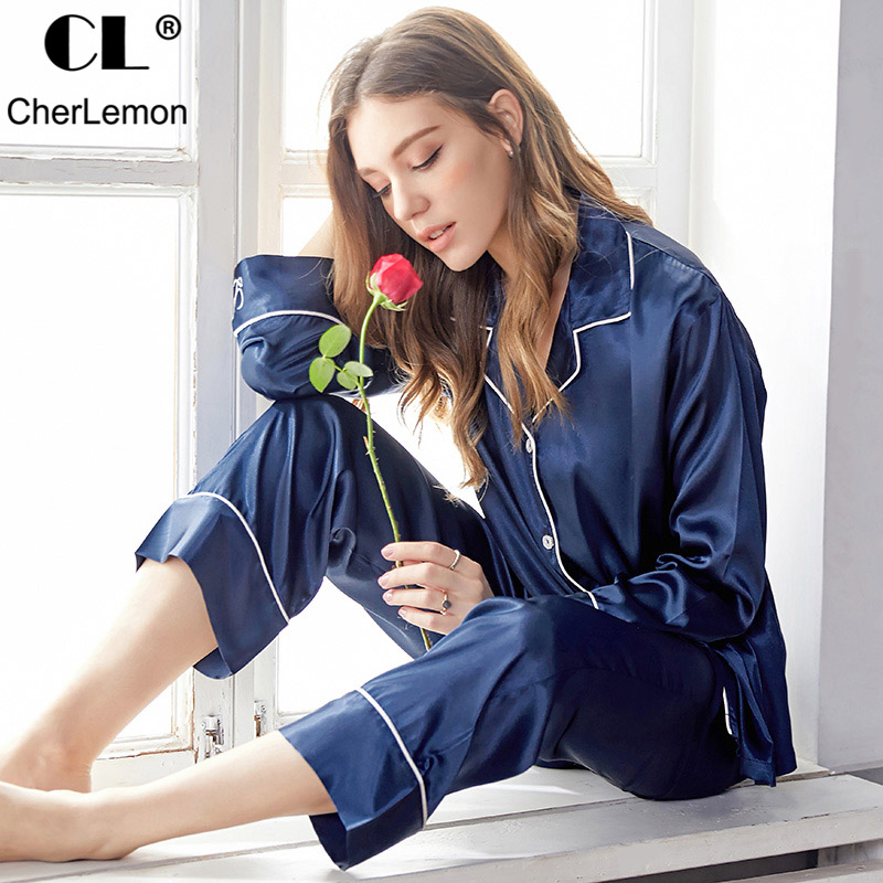 CherLemon 2 Pcs Cozy Silk Women Pajama Sets Solid Full Length Button Down Home Sleepwear 2019 New Spring Sexy Pajamas For Party