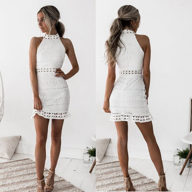 2018 New sexy Vintage hollow out lace dress women Elegant sleeveless white dress summer chic party sexy mini dress vestidos 2XL 3