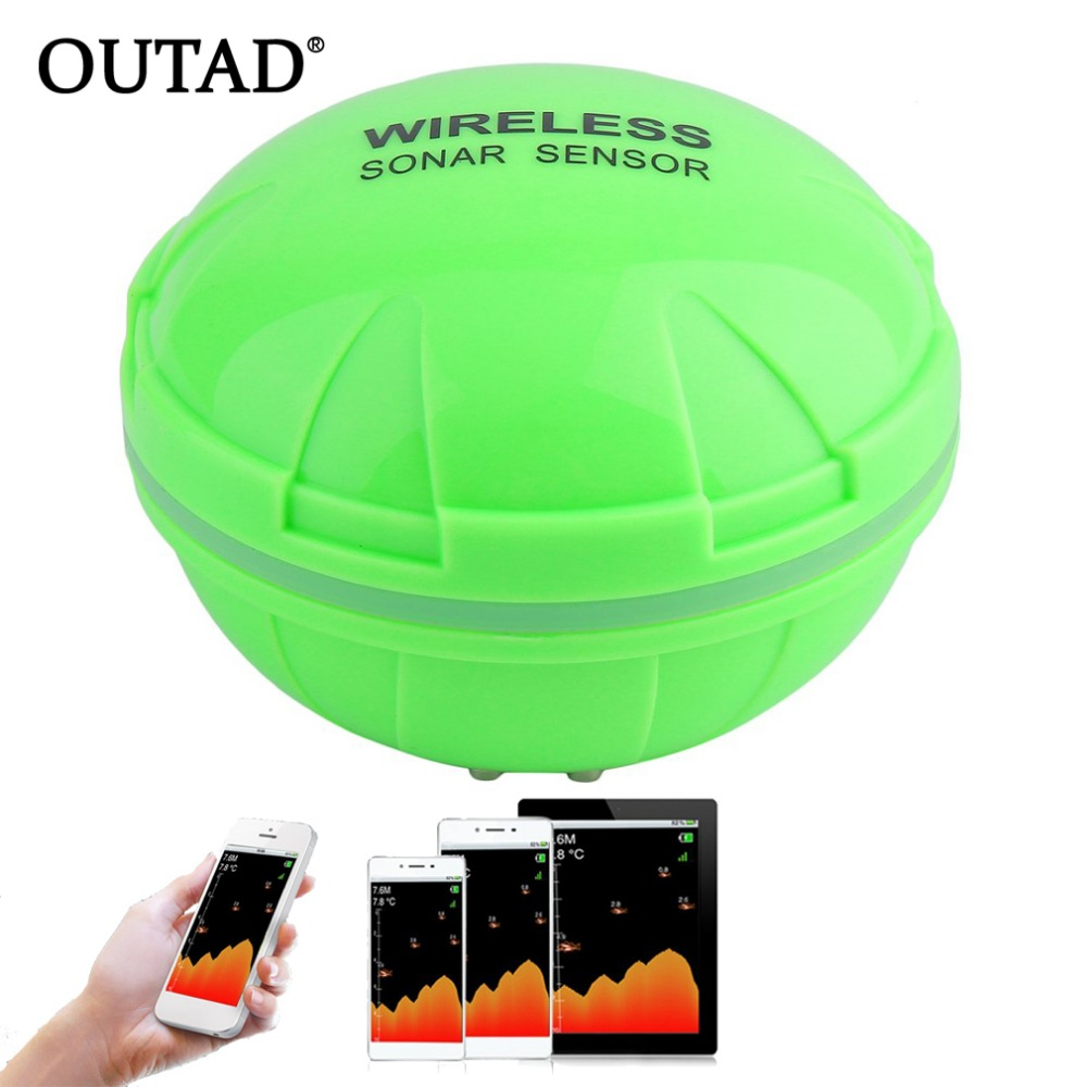 OUTAD Bluetooth Fish Finder Sea Fish Detect Device For IOS For Android 25M/80FT Sonar Fishfinder Wireless Fishing Detector portable bluetooth fish finder sea fish detect device for ios for android 25m 80ft sonar fishfinder wireless fishing detector