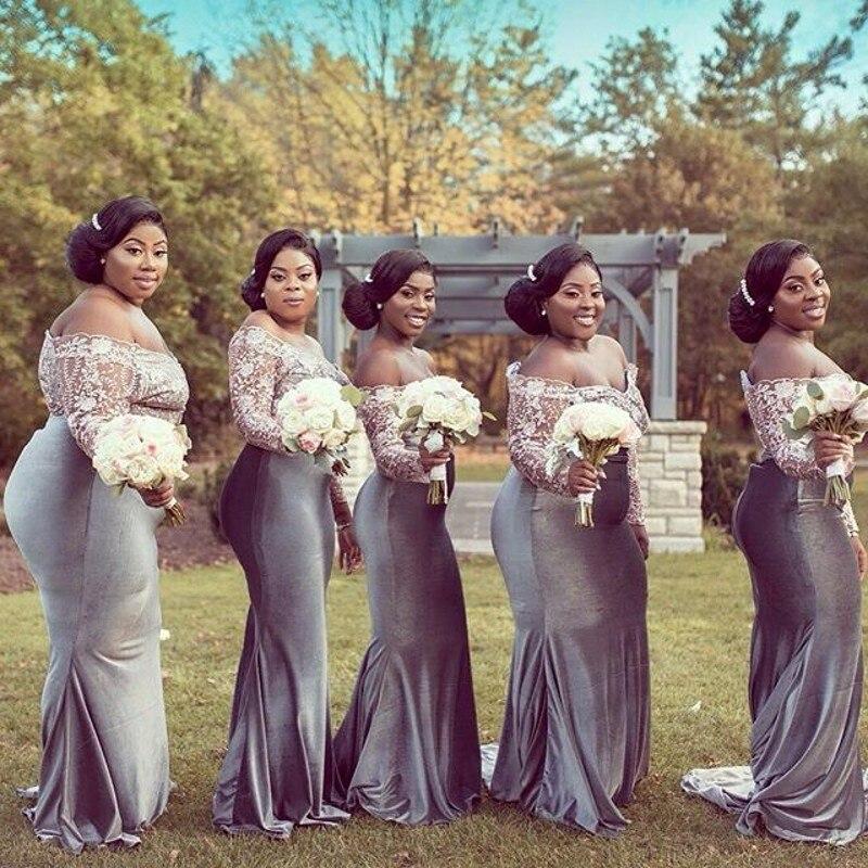 Personnalisé robes de demoiselles d'honneur robe madrinha Sirène Velours Demoiselle D'honneur Robes Appliques Gris robe pour invité de mariage robe madrinha