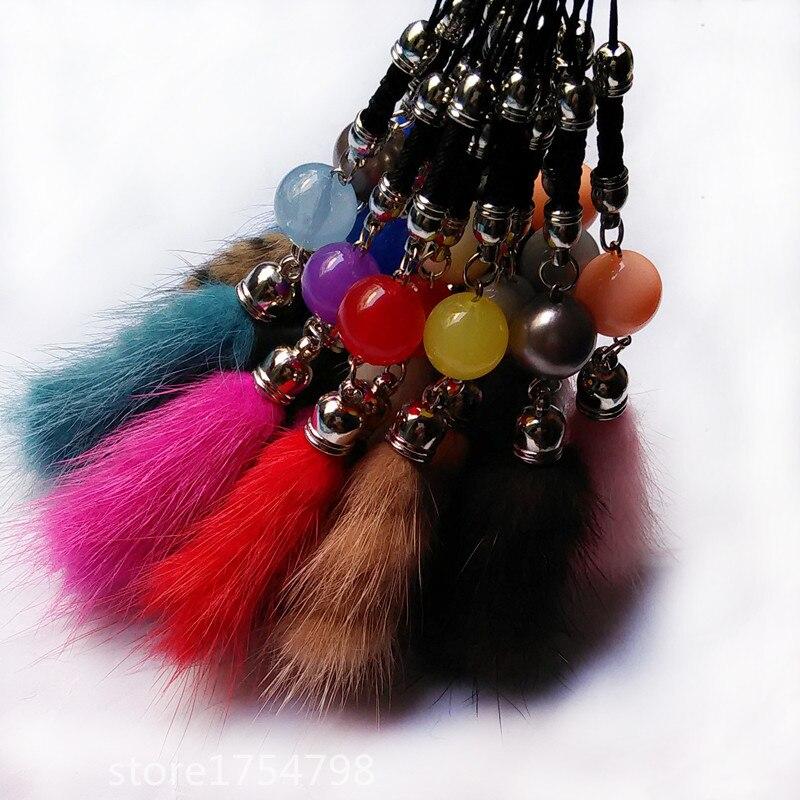 Muoti 17 Väri Mink Fur Tail Design Auton avaimenperä Fur - Muotikorut - Valokuva 2
