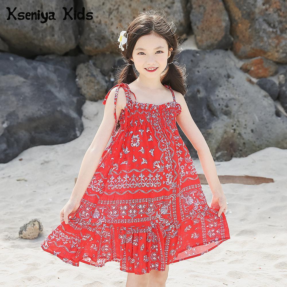 Kseniya Kids Summer Big Girl Flower Floral Beach Bohemian Suspender Princess Cotton Dresses 6 14y Girls Dresses Age 13