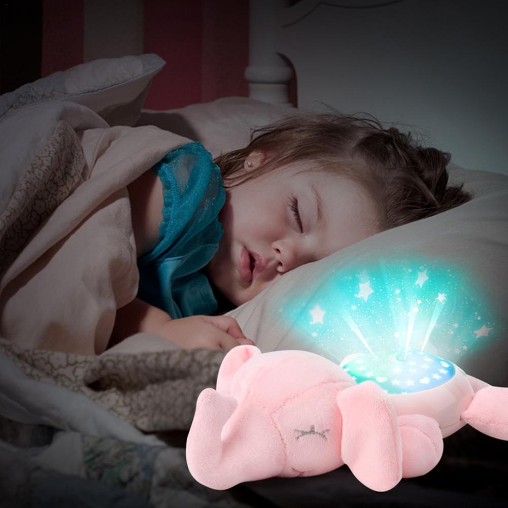 Led Night Light Stars Projector Baby Toys For Children Sleep With Colorful Light Luminous Music Animal Lamp Plush Toy