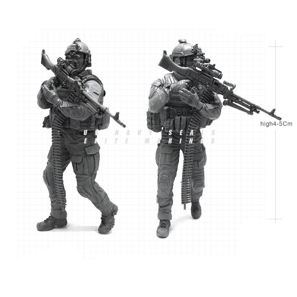 1/35 Modern U.S Navy Seals Elite Marines Alert Machine Gunner Military Soldier Resin Model Figure NAI-21