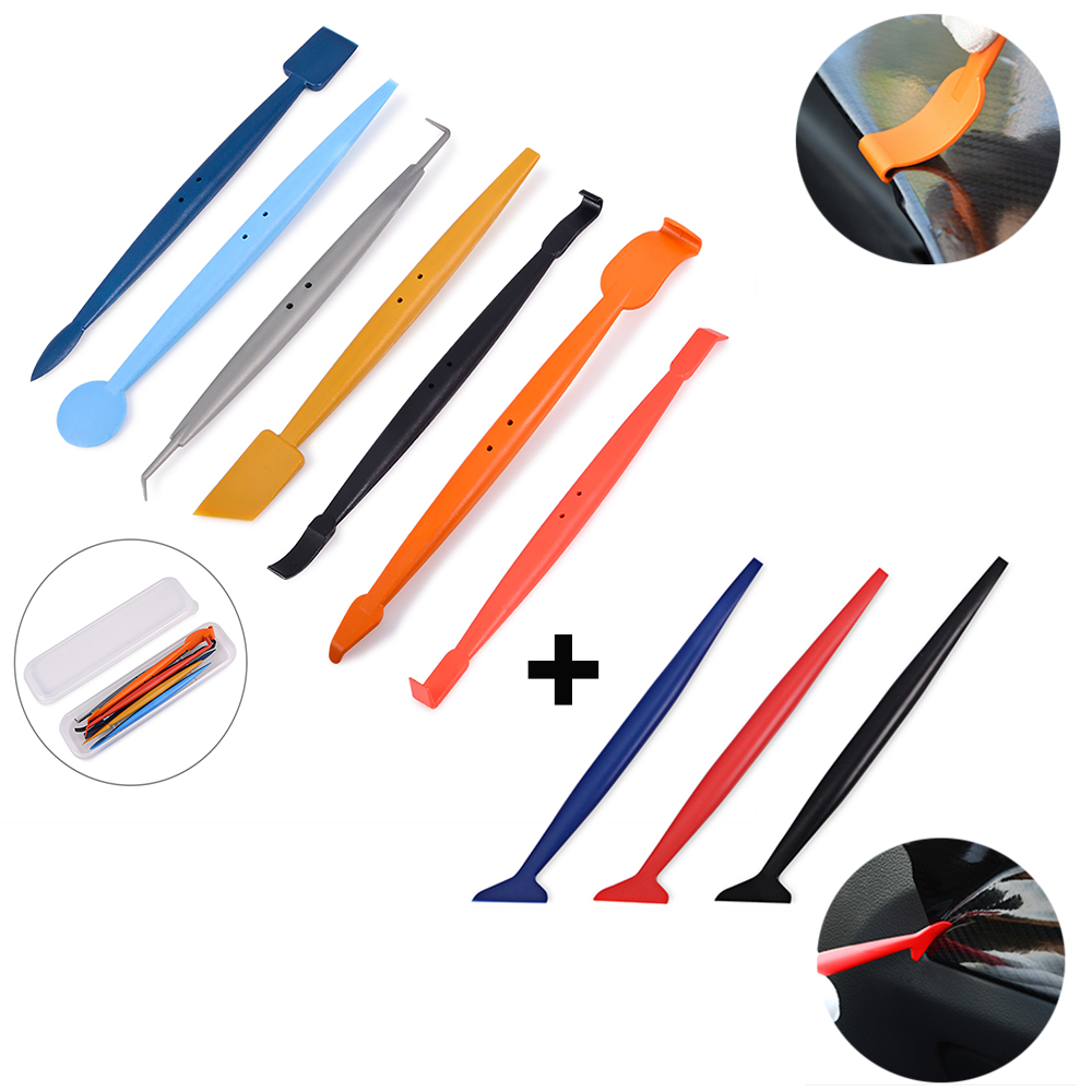 EHDIS 10pcs Carbon Fiber Vinyl Car Wrap Film Magnet Squeegee Wrapping Scraper Set Corner Stick Tool Window Tint Car Styling Tool