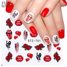 0a2d7afb206 Full Beauty 1pcs Pop Style Water Nail Art Slider Sticker Transfer Tip Cool  Girl Lips Rose