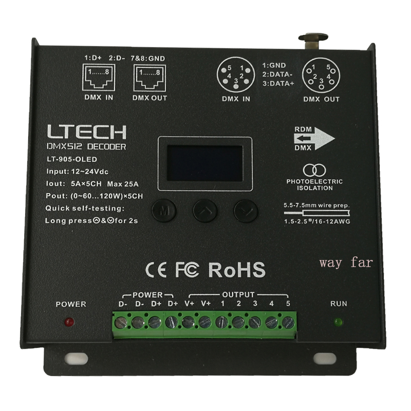 Image 5 - New Led DMX  Decoder Controller;DC12 24V input;5A*5CH output RGB/RGBW Led Controller XLR 3/RJ45 8 / 16 bit 256 /65536 Grey level-in RGB Controlers from Lights & Lighting