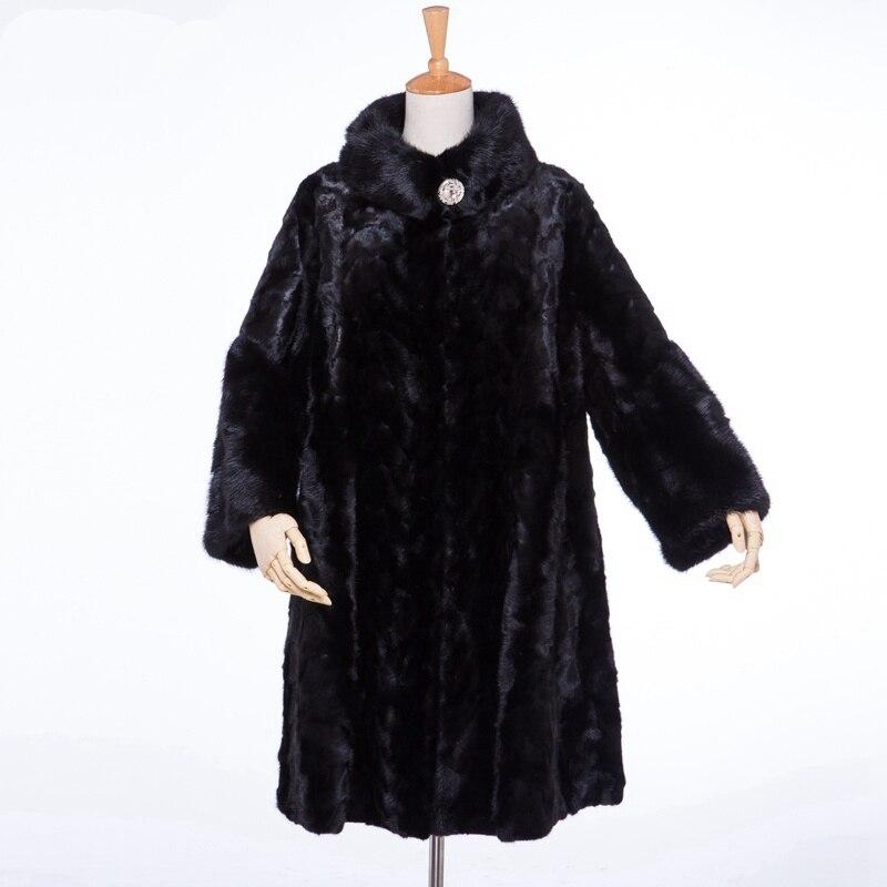 Роскошная натуральная часть норковая шуба куртка Мандарин Воротник Зимний женский меховое пальто Тренч пальто X-Long LF4039