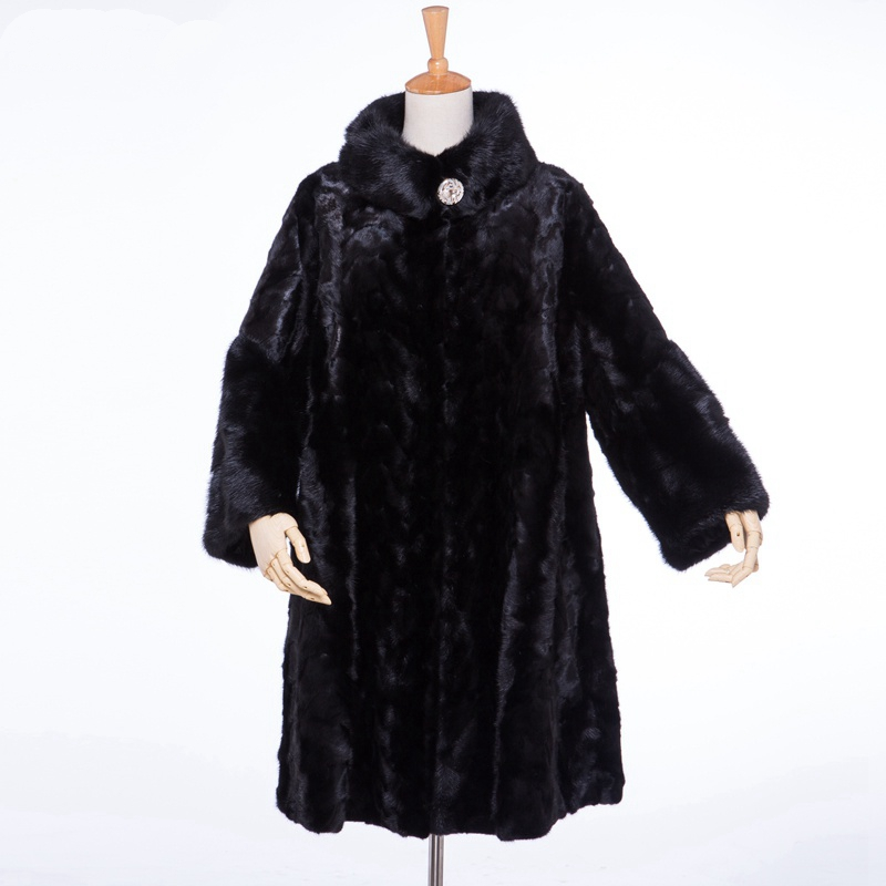 Luxury Genuine Real Piece Mink Fur Coat Jacket Mandarin Collar Winter Women Fur Outerwear Coats Trench Overcoat X-Long LF4039