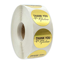Round Gold THANK YOU for your purchase Stickers seal labels 500 Labels stickers scrapbooking Package stationery sticker
