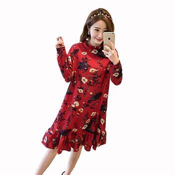 Pengpious 2018 summer pregnant women floral dress long sleeve fashion printed ruffles patchwork stand collar chiffon dress cute floral chiffon dress long sleeve