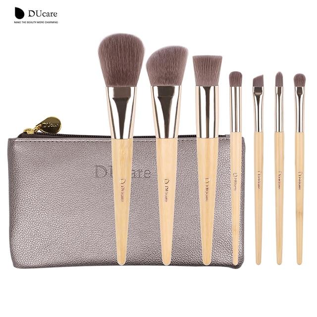 DUcare 7Pcs Makeup Brushes Set professional brush set high quality Bamboo Foundation Eyeshadow brush with Leather bag