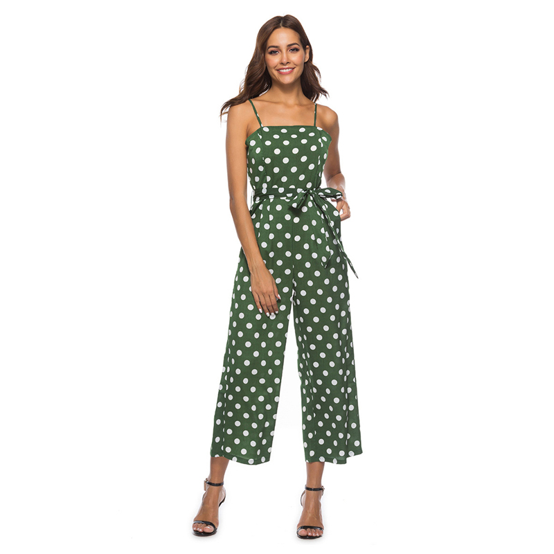 Summer Women Jumpsuits Ladies Casual Sexy Club Beach Vintage Boho Off Shoulder Bandage Dot print White Romper Jumpsuits 19