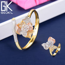 GODKI Trendy Luxury Flower Cubic Zircon Crystal CZ Engagement Bangle Ring Sets For Women Wedding Bride DUBAI Bridal Jewelry Sets(China)