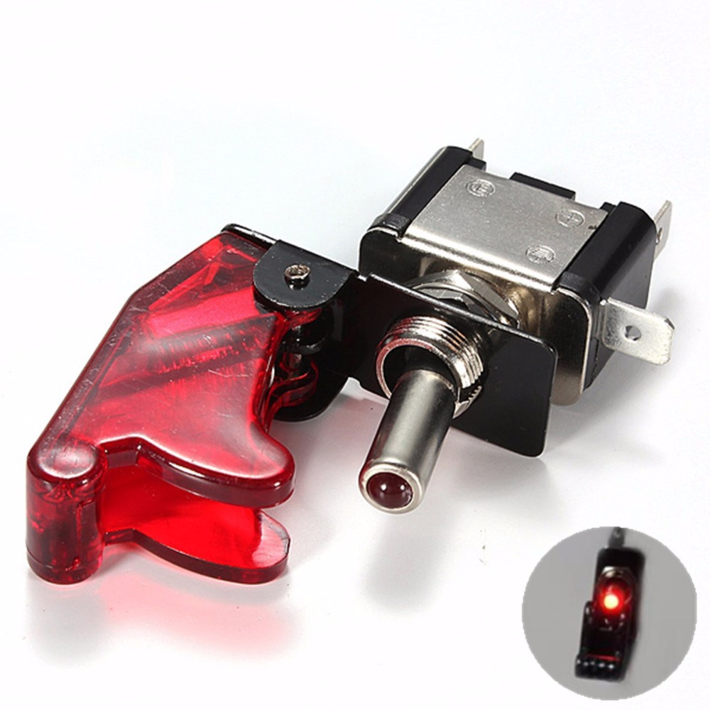 Car Racing Red Led On Off Aircraft Type Toggle Switch
