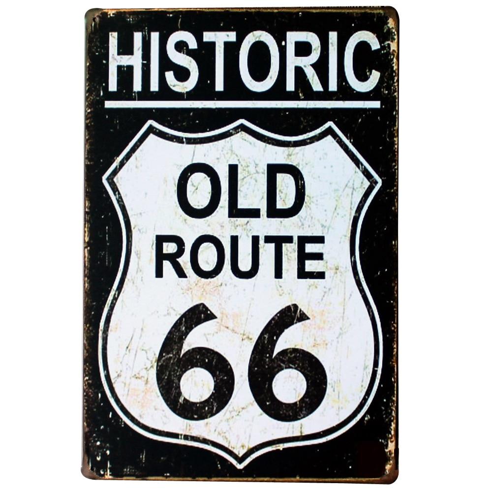 HISTORISCHE ALTE ROUTE 66 NEON-ZEICHEN Metal Tin Road Plaque für Wandmalerei SPM13-2 20x30 cm B1