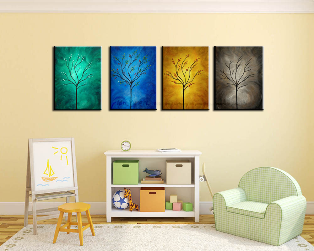 MUYA decorative wall painting wall picture abstract handmade four ...