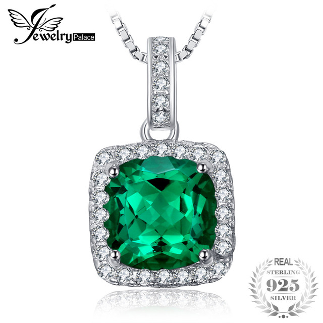 JewelryPalace Cushion 3.3ct Created Emerald Halo Pendants For Women 925 Sterling