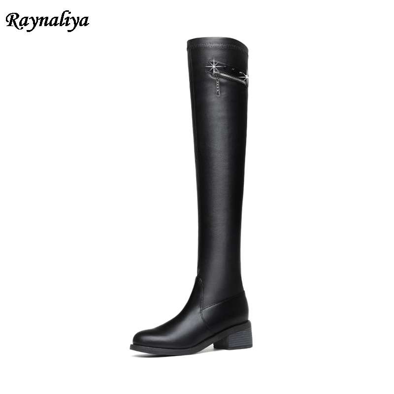 Hot Sale New Fashion Microfiher High Heels Over The Knee Boots Rhinestone Women Motorcycle Boots Autumn Winter Shoes LSN-A0035