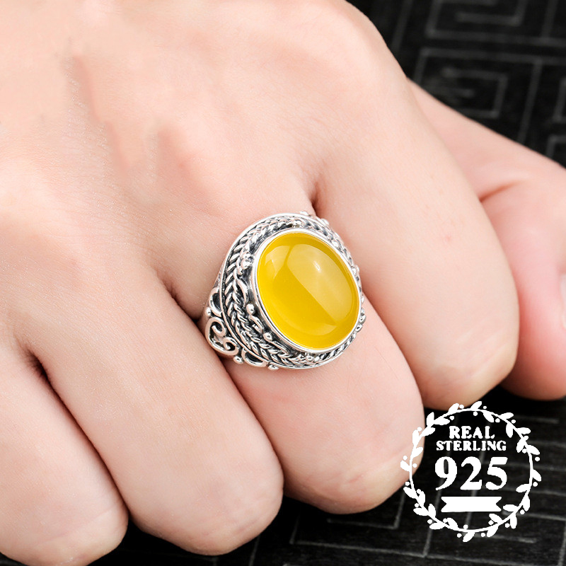 12*16mm NOT FAKE S925 Sterling Silver Poland Amber Rings Exaggerated Rings upper class lithuania Retro Handmade12*16mm NOT FAKE S925 Sterling Silver Poland Amber Rings Exaggerated Rings upper class lithuania Retro Handmade