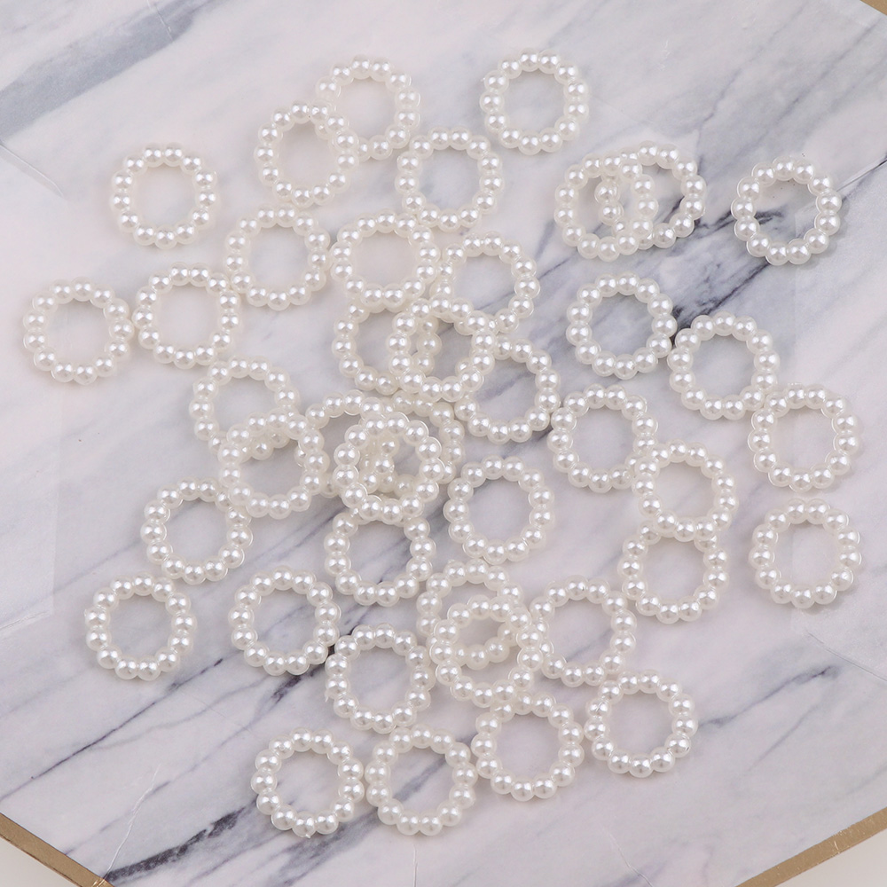 Ivory Color 12mm Round Hollow Flat Back Cabochon Imitation Plastic ABS Pearl Beads For DIY Jewelry Handmade Craft Making