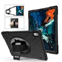 Ruged Shockproof Case For apple iPad Pro 12.9 2018 Tablet Kids Safe Soft Silicone Armor Cover for iPad A1876 A2014 Shoulder Belt