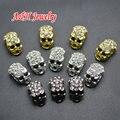 20 pcs de alta qualidade strass Inset crânio Heads contas Gun preto prata ouro Bead para fazer bijuterias materiais