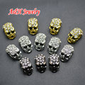 20pcs High Quality Rhinestone Inset Skull Heads Beads Gun Black Silver Gold Bead For Fashion Jewelry Making Materials